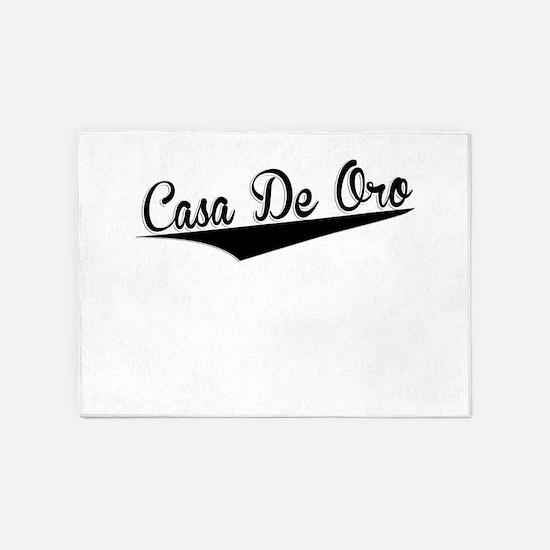 Casa De Oro, Retro, 5'x7'Area Rug