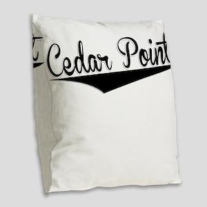 Cedar Point, Retro, Burlap Throw Pillow