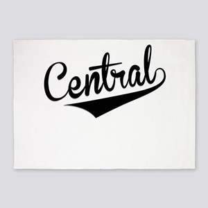 Central, Retro, 5'x7'Area Rug