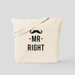 Mr right mustache Tote Bag