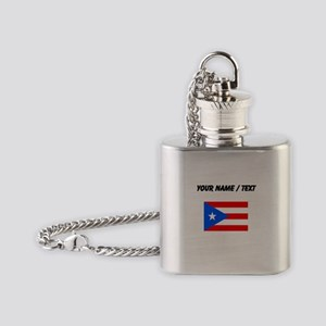 Custom Puerto Rico Flag Flask Necklace