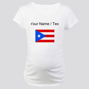Custom Puerto Rico Flag Maternity T-Shirt