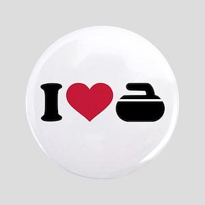 "I love Curling stone 3.5"" Button"
