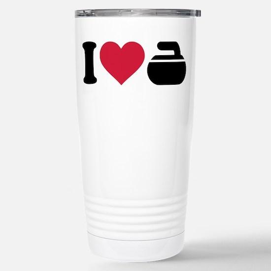 I love Curling stone Stainless Steel Travel Mug