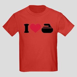 I love Curling stone Kids Dark T-Shirt