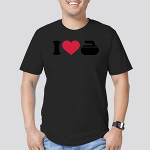 I love Curling stone Men's Fitted T-Shirt (dark)