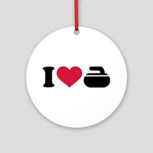 I love Curling stone Ornament (Round)