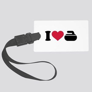 I love Curling stone Large Luggage Tag