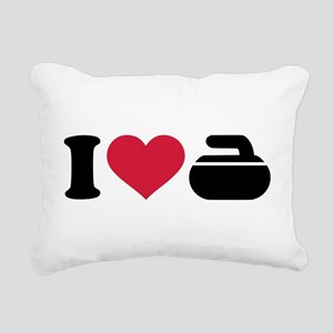 I love Curling stone Rectangular Canvas Pillow