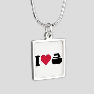 I love Curling stone Silver Square Necklace