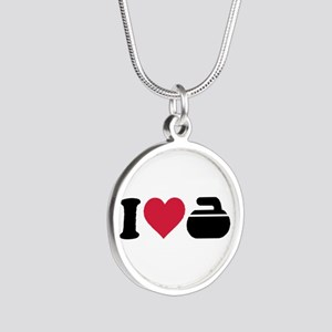I love Curling stone Silver Round Necklace