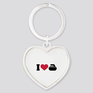 I love Curling stone Heart Keychain