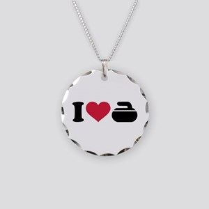 I love Curling stone Necklace Circle Charm