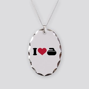 I love Curling stone Necklace Oval Charm