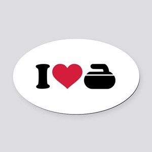 I love Curling stone Oval Car Magnet
