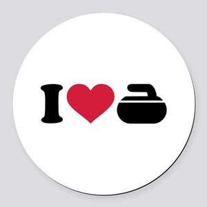 I love Curling stone Round Car Magnet
