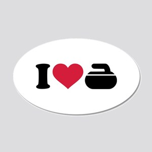 I love Curling stone 20x12 Oval Wall Decal