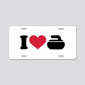 I love Curling stone Aluminum License Plate