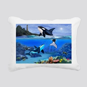 THE ORCA FAMILY Rectangular Canvas Pillow