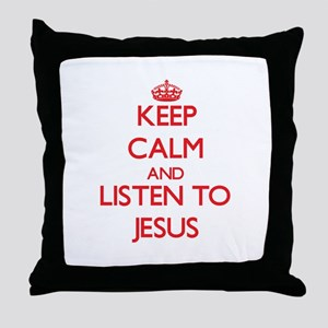 Keep Calm and Listen to Jesus Throw Pillow