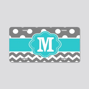 Gray Teal Dots Chevron Monogram Aluminum License P
