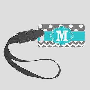 Gray Teal Dots Chevron Monogram Small Luggage Tag