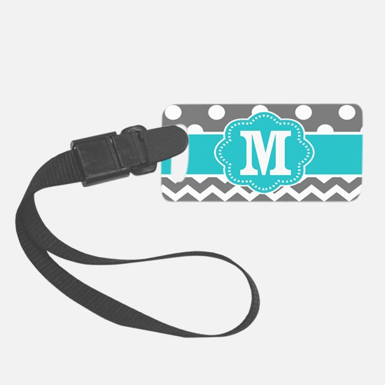 Gray Teal Dots Chevron Monogram Small Luggage Tag