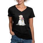 A Hamster Bride Women's V-Neck T-Shirt (dark)