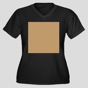 Tan Brown Solid Color Plus Size T-Shirt