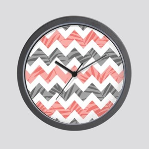 Chevron coral gray leaves Wall Clock