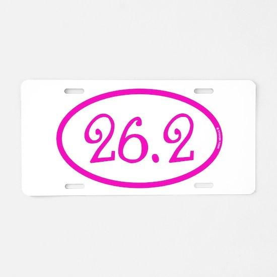 26.2 Marathon Pink Girly Aluminum License Plate
