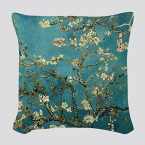 Van Gogh Almond Branches In Bl Woven Throw Pillow