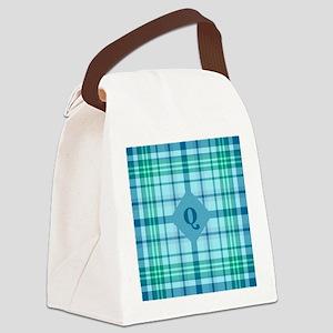 Emerald Sea Plaid Canvas Lunch Bag