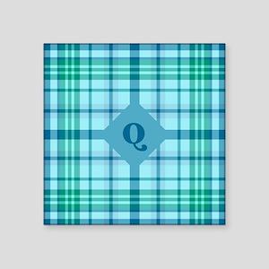 """Emerald Sea Plaid Square Sticker 3"""" x 3"""""""
