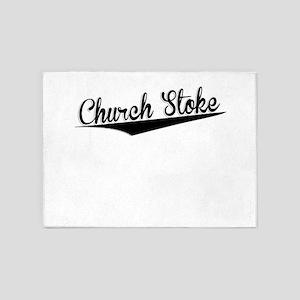 Church Stoke, Retro, 5'x7'Area Rug