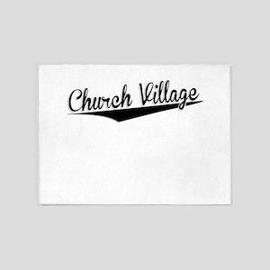Church Village, Retro, 5'x7'Area Rug