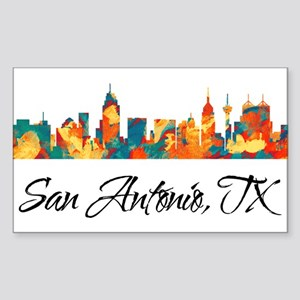 San Antonio Texas Skyline Sticker (Rectangle)