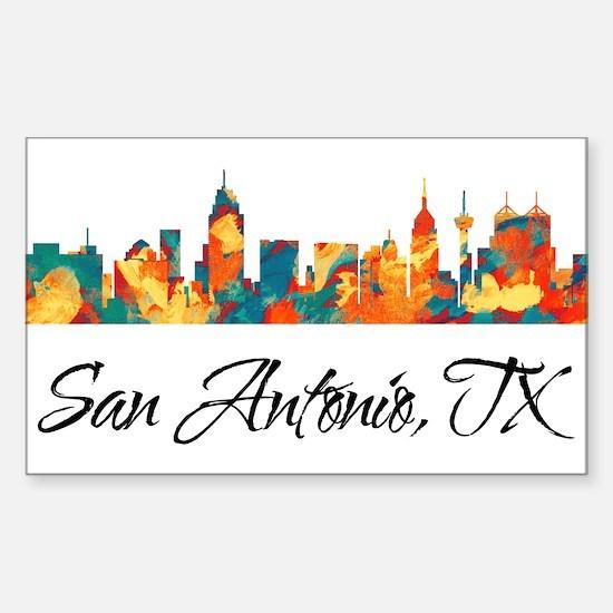 San Antonio Texas Skyline Sticker (Rectangle)