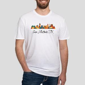 San Antonio Texas Skyline Fitted T-Shirt