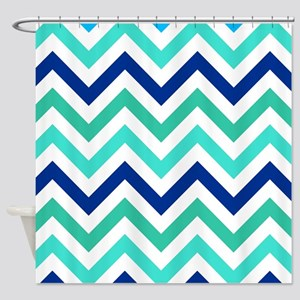 Turquoise, Navy, Teal and white Chevrons Shower Cu