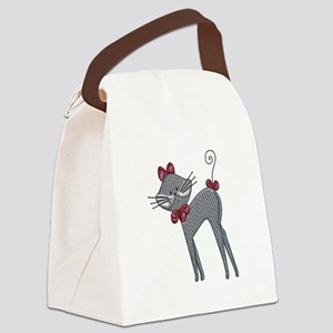 Ribbon Kitty Canvas Lunch Bag
