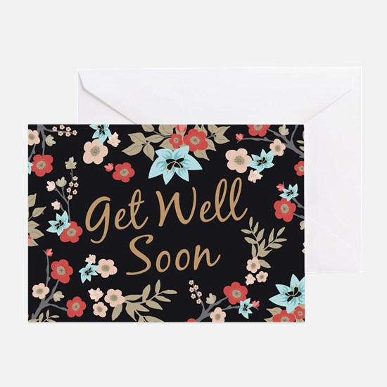 Kimono Print Get Well Soon Greeting Cards