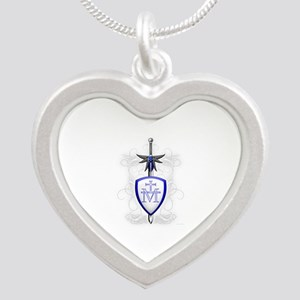 St. Michael's Sword Silver Heart Necklace