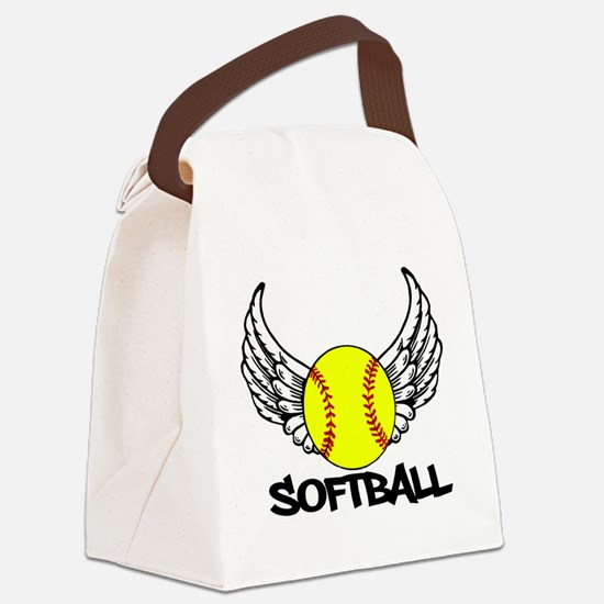 Softball with Wings Canvas Lunch Bag