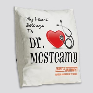 DR. McSTEAMY Burlap Throw Pillow