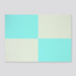Baby Blue and Cream 5'x7'Area Rug