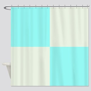 Baby Blue and Cream Shower Curtain