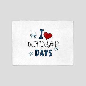 I Love Winter Days 5'x7'Area Rug