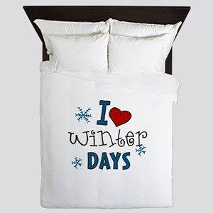 I Love Winter Days Queen Duvet