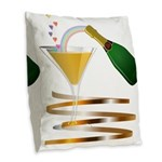 Champagne Party Celebration Burlap Throw Pillow